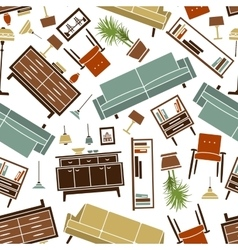 Retro seamless colorful home furnitures pattern vector image