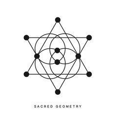 Sacred geometry sign tattoo isolated on white vector