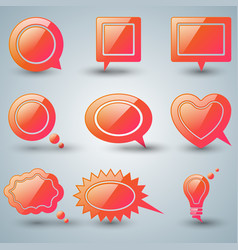 Set red speech icon dialog box icon vector