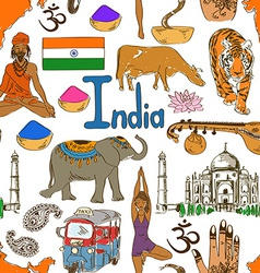 Sketch India seamless pattern vector image
