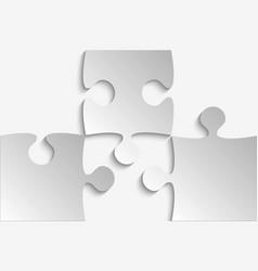 three grey piece puzzle jigsaw vector image