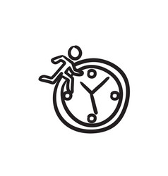 Time management sketch icon vector