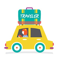 Travelers Car With Huge Luggage On The Rack vector image vector image