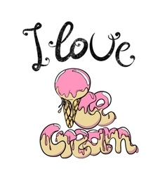 Vintage ice cream cone with pink topping vector