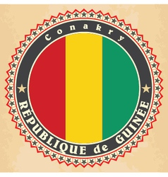 Vintage label cards of Guinea flag vector image vector image