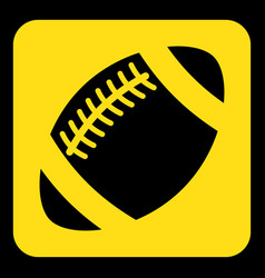 Yellow black sign - american football ball icon vector
