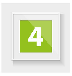 Square frame with number four vector image
