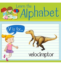 Flashcard letter V is for velociraptor vector image