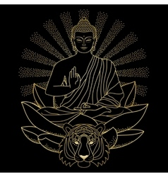 Buddha sitting on Lotus with light and Tiger vector image