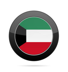 flag of kuwait shiny black round button vector image