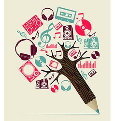 Dj music concept pencil tree vector