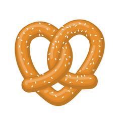 Love pretzel snack heart food lover sign vector