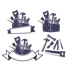 Toolbox with tools design elements vector