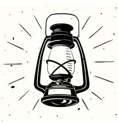 Vintage handdrawn lamp vector image