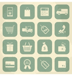 Retro shopping icons vector