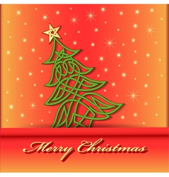 Festive background with christmas tree vector