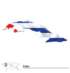 Map of cuba with flag vector