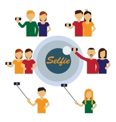 Selfie figures of people vector
