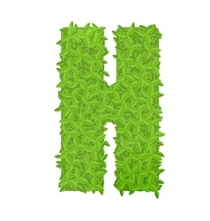 Uppecase letter h consisting of green leaves vector