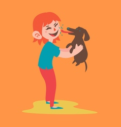Happy girl holding her dog vector