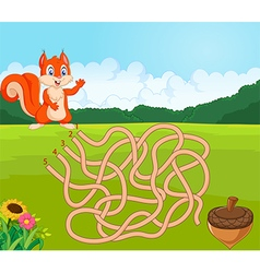 Help squirrel to find way to pinecone in the maze vector