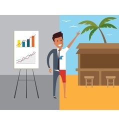 Business man at work and on vacation flat vector