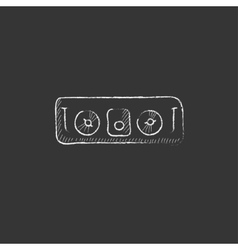 Dj console drawn in chalk icon vector