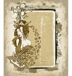 geisha with floral grunge frame vector image