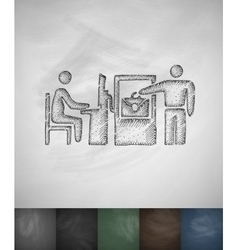 Checked baggage icon hand drawn vector