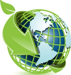 blue globe and green arrow vector image