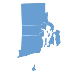 State map of rhode island by counties vector