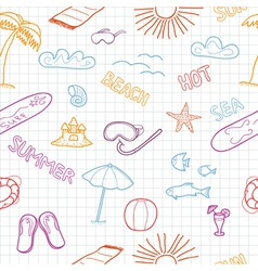 Colorful beach doodles vector