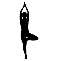 Silhouette of woman doing yoga vector image