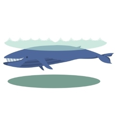 A cartoon blue whale with big vector