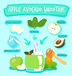 Apple avocado delicious healthy smoothies xa vector