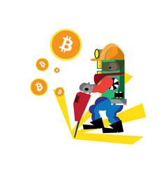 bitcoin green happy vector image vector image