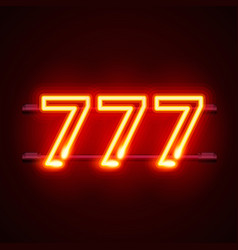 Casino 777 neon signboard winner triple sevens vector