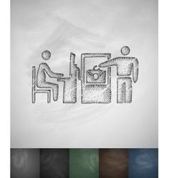 Checked baggage icon hand drawn vector