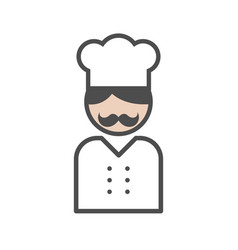 chef icon with a moustache on white background vector image