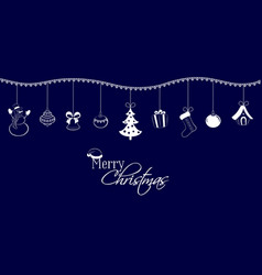 christmas pendants on a dark blue background vector image vector image