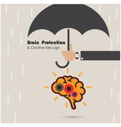 Creative brain protection abstract logo vector