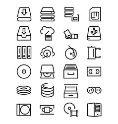 Data storage line icons 3 vector