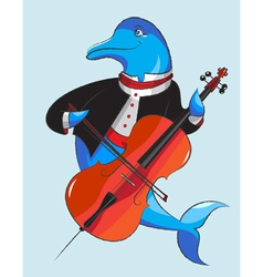 Dolphin and violoncello vector image vector image