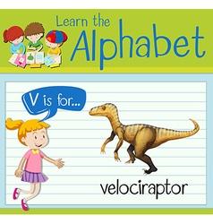 Flashcard letter v is for velociraptor vector