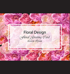 Greeting card with watercolor peony flowers vector
