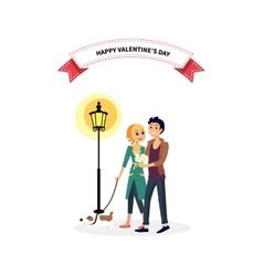 Happy valentine day couple walk with dog vector