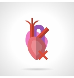 Heart illness flat color icon vector