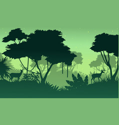 Landscape of jungle with deer silhouette vector