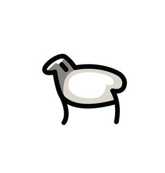 linear stylized drawing of sheep vector image vector image