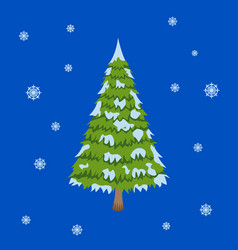Merry christmas tree sign on blue background vector